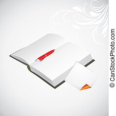 Opened notepad with ballpen - Opened notepad, ballpen and...