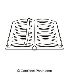 Opened notepad with pencil and pen in top view. Sketchbook or diary. Notebook with red bookmark. A notebook at school.School And Education single icon in outline style bitmap symbol stock illustration.