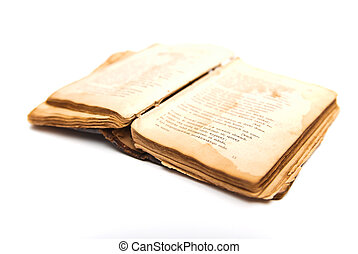 opened old antique book isolated