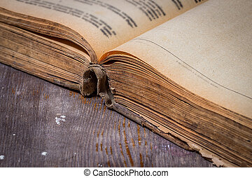 Opened old book on a wooden table