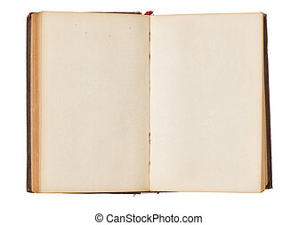 Opened old book with blank pages isolated on white. Top view