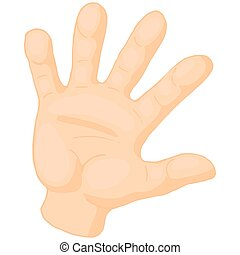 Opened palm of the hand icon, cartoon style