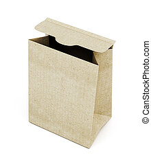 Opened paper bag isolated on white background. 3d rendering