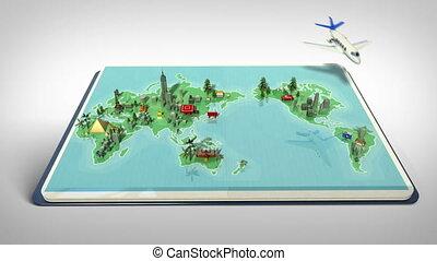 Opened passport, travel world tour