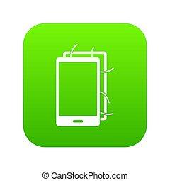 Opened phone icon digital green