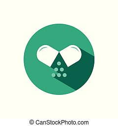 Opened pill icon with shadow on a green circle. Vector pharmacy illustration