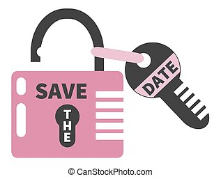 Opened pink padlock and key  with words SAVE THE DATE. Isolated