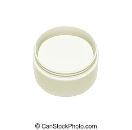 Opened plastic container with cream on a white background