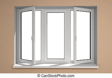 Opened plastic window new in room