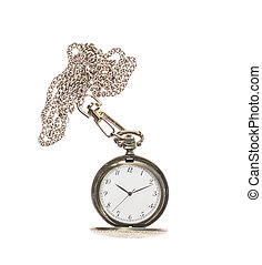 Opened pocket watch on a chain