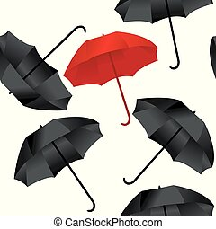 Opened red and black umbrellas on white background