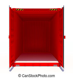 Opened red cargo container