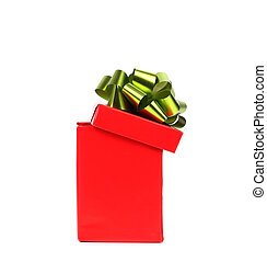 Opened red gift box with green-golden bow.