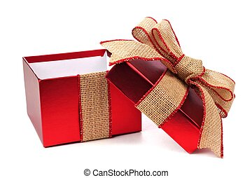 Opened red gift box with rustic burlap bow and ribbon