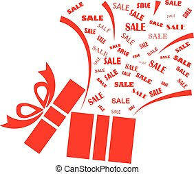 Opened red present box with sale word on white background