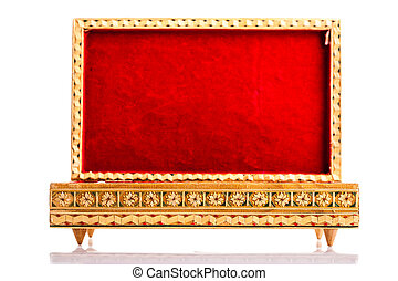 Opened red velvet box - a beautiful bulgarian wooden inlaid...