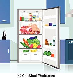 Opened Refrigerator Food Home Kitchen Interior