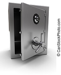opened safe - 3d illustration of steel safe with opened...
