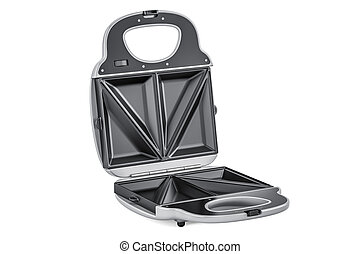 Opened sandwich maker closeup, 3D rendering isolated on...