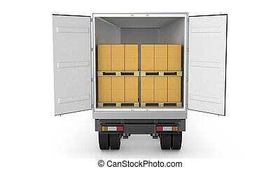 Opened semi-trailer with carton boxes inside isolated on...