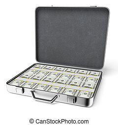 Opened silver case with dollars