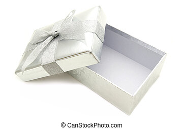 Opened silver gift box with lid and bow isolated over white