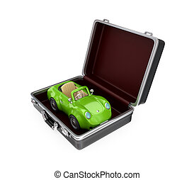 Opened suitcase and green car inside.