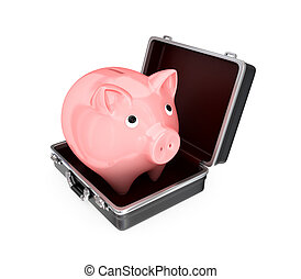 Opened suitcase and pink piggy bank inside.