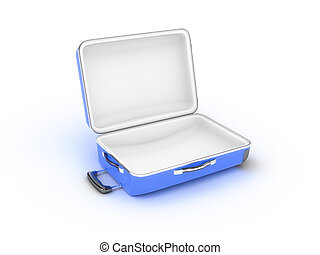 Opened suitcase on white background - Open metal case ...