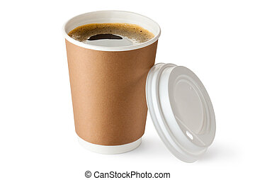 Opened take-out coffee in cardboard cup. Isolated on a white...