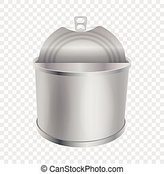 Opened tin can mockup, realistic style