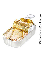 Opened tin of sardines with soft shadow on white background....