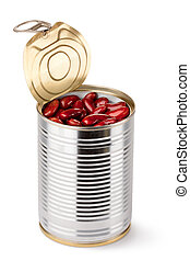 Opened tin with red beans. Isolated on a white.