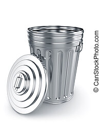Opened trash can - 3d render of opened trash can isolated on...