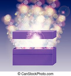 Opened violet gift box with and beam lights.
