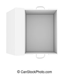 Opened white cardboard package box. Isolated on white...