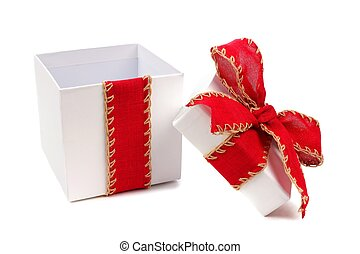 Opened white Christmas gift box with red bow and ribbon isolated