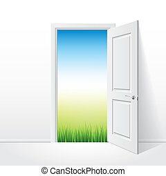 Opened white door and nature vector illustration - Opened ...