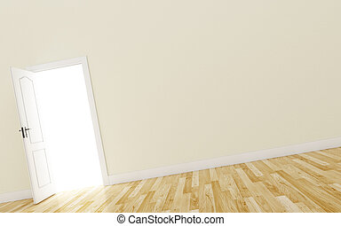 Opened White Door on brown Wall, Wood Floor