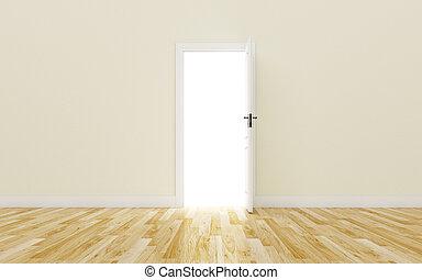 Opened White Door on brown Wall, Wood Floor