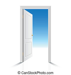 Vector photorealistic illustration of an opened white door with view on clear sky