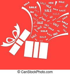 Opened white present box with sale word on red background