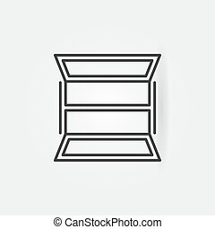 Opened window icon in outline style. Vector concept symbol