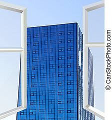 Opened window in room with panoramic view to modern skyscraper