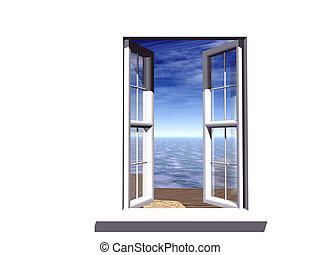 opened window with a fairy-tale kind on an beach, ocean and sky