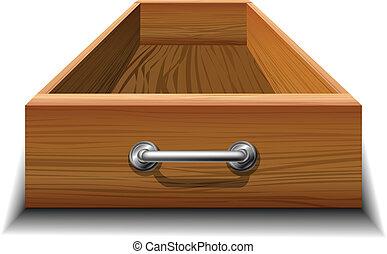 Opened wood drawer with metallic handle