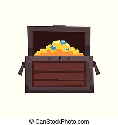 Opened wooden chest with treasures vector Illustration on a white background