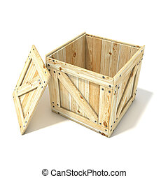 Opened wooden crate. Side view. 3D