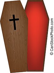 Opened wooden empty coffin isolated on white