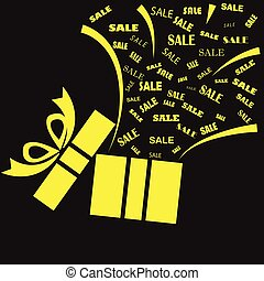 Opened yellow present box with sale word on black background